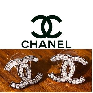 AUTHENTIC CHANEL CC LOGO STUD EARRINGS!